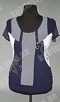 Женская блуза украшенная стразами с коротким рукавом-сетка
