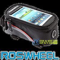 Велосипедная сумка на раму для смартфона Roswheel L Красная полоска