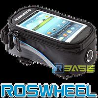 Велосипедная сумка на раму для смартфона Roswheel L Синяя полоска