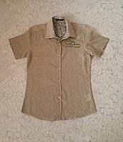 Детская рубашка с короткими рукавами для мальчиков 128,140,152,164 роста Oливка