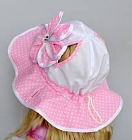 Панамка Софийка с отверстиями для хвостиков. р. 50-54. Красный, розовый, т.розовый, синий.