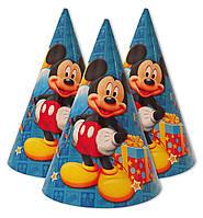 """Колпачки, колпаки праздничные, маленькие """" Микки Маус синий """".  Карнавальные колпаки"""