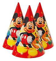 """Колпаки праздничные, маленькие """" Микки Маус красный """".  Карнавальные колпаки"""