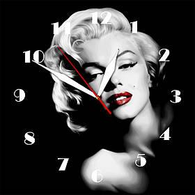 """Настінні годинники на склі """"Мерлін"""" кварцові"""