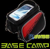 Велосипедная двухсторонняя сумка на раму для смартфона BaseCamp L Красная