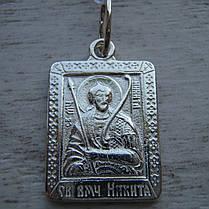 Серебряная подвеска-ладанка Святой Никита, фото 3