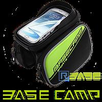 Велосипедная двухсторонняя сумка на раму для смартфона BaseCamp L Зелёная