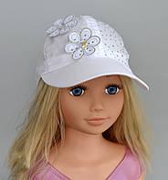 Бейсболка Цветочек. 3-7 лет. р. 52 белый, розовый