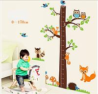 """Наклейка на стену, украшения стены наклейки """"дерево с животными"""" ростомер 1м82см*1м85см (2листа60*90см)"""