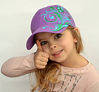 Бейсболка Бабочки. Хлопок. От 5 лет. р. 52-57. Малина, фиолет, св.зелен, розов, оранж, коралл