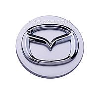 Колпачки заглушки для литых дисков Mazda серый + хром