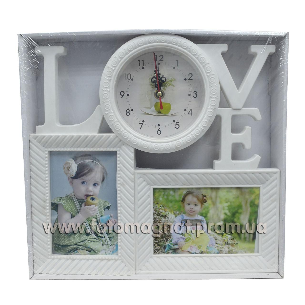 """Мультирамка з годинником """"LOVE"""" — Фоторамка колаж на стіну"""