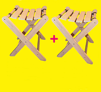Компактная складная мебель для дачи Лента: древесина сосна, 37х38х46 см, 2 табурета