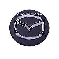 Колпачки заглушки для литых дисков Mazda черный + хром