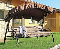 Качели дачные садовые трехместные Felicia Drill, текстиль, металл, коричневые