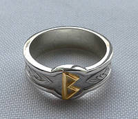 Кольцо с Руной Беркана с золотой накладкой