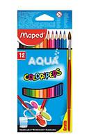 Maped Карандаши цветные Color'Peps Aqua, 12 цветов + кисточка