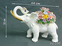 Статуэтка Слон с цветами 44 см фарфор 92-056