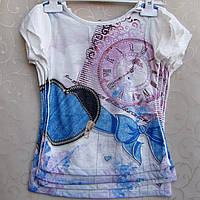 Стильная футболка для девочек 5-8 лет .