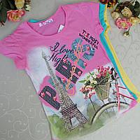 Яркая футболка для девочек 6-9 лет .