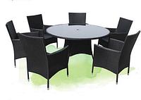Садовый комплект Diana (Китай), мебель из искусственного ротанга, круглый стол со стеклом, 6 кресел