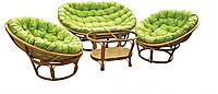 Тренд сезона — комплект мебели из ротанга «Папасан» (Индонезия): стол, два кресла, софа, мягкие подушки