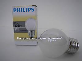 Лампа шарик матовый  PHILIPS  25/P45/Е27
