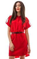 Удобное женское платье-рубашка под пояс с удлинением сзади рукав короткий стрейчевый костюмный креп