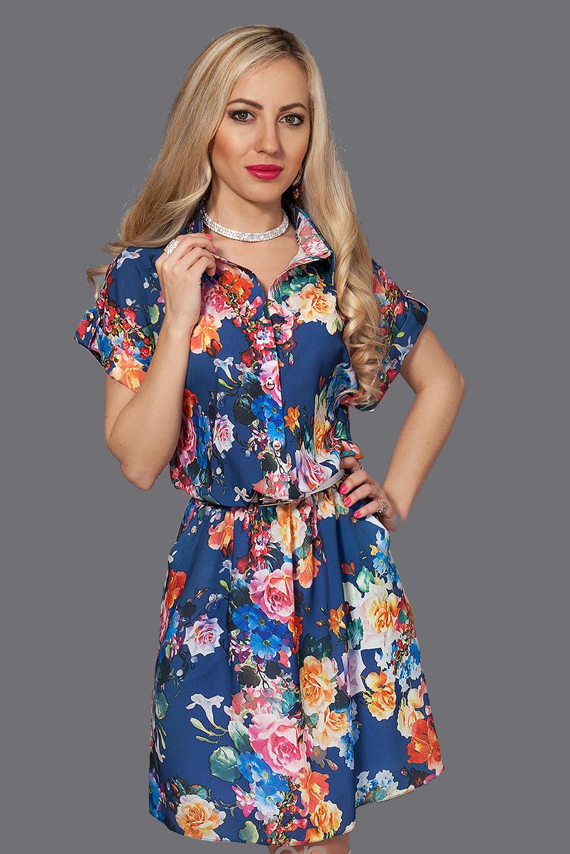 Платье-рубашка из креп шифона,декорировано поясом, 42-44,50-52