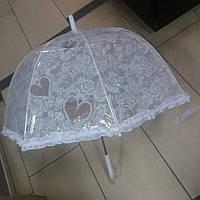 Зонт трость для девочки прозрачный белый, фото 1