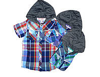 Рубашка  с капюшоном  для мальчиков,Glostory, размеры 134-164 арт. 8156