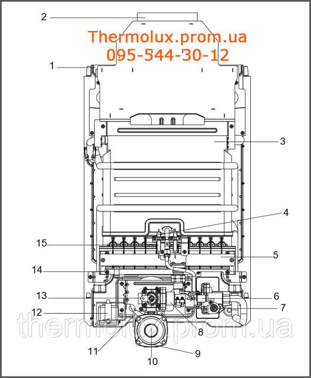 Схема устройства газовой колонки Beretta Aqua 11i