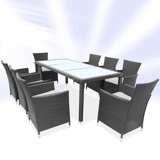 Обідній набір меблів з ротанга сірий