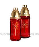 Лампада стеклянная красная 3004 с парафиновым вкладышем