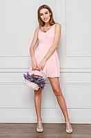 Женское платье до колен розовое