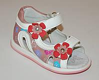 Летние кожаные босоножки в цветочки для девочек Tom.m на липучках с ортопедической стелькой р.21,25
