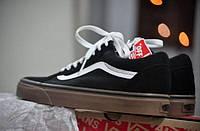 """Кеды унисекс Vans Old Skool """"Черные с белой полосой"""" р. 5-11 (36-46), фото 1"""