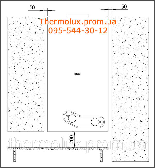 Схема установки газовой колонки Beretta Aqua 14