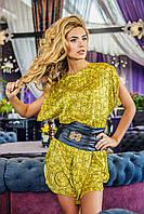 Желтое платье  с кожаным поясом