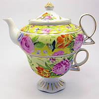 """Сервиз Фарфор """"Цветы На Желтом Фоне"""" 1 Чайник + 1 Чашка (200/400 Мл Чашка/Чайник)"""