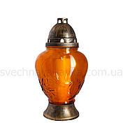 Лампада стеклянная медовая 4003 с парафиновым вкладышем