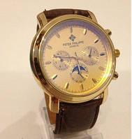 Часы мужские  Patek Philippe кварцевые золотистые с коричневым ремешком