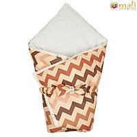 Демисезонный конверт-одеяло на выписку «Вернисаж» (Коричневый зигзаг), Omali