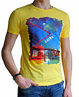Мужская футболка с рисунком №1 желтая