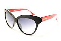 Очки женские солнцезащитные Miu Miu 8539 C5 SM 02481 ,брендовые очки Miu Miu в чёрной оправе с красными дужкам