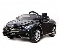 Детский электромобиль Mercedes S63 черный, колеса EVA, MP3, FM, USB, амортизаторы