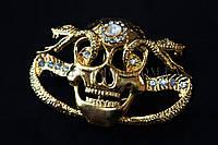 Пряжка для ремня череп металлическая со стразами, длина: 10 см, 1 штука