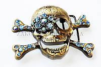 Пряжка для ремня череп металлическая со стразами, длина: 10,5 см, 1 штука
