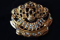 Пряжка для ремня череп металлическая со стразами, длина: 9 см, 1 штука