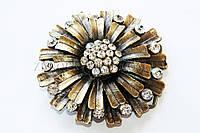 Пряжка для ремня цветок металлическая со стразами, длина: 8 см, 1 штука